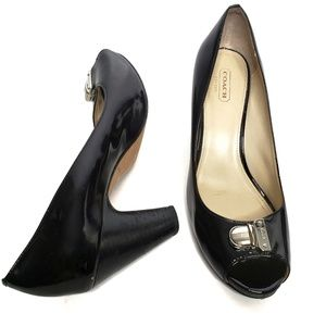 Coach Black Patent Leather Heels Helaine Buckle